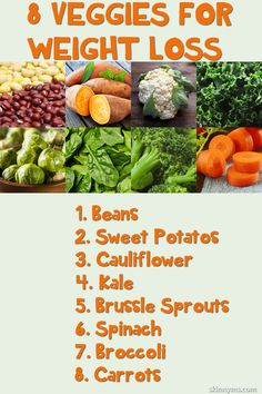 8 Veggies for Weight Loss. And they're pretty tasty too. #weightloss #veggierecipes #lowcalorie #lowcarb #healthyeating #superfoods