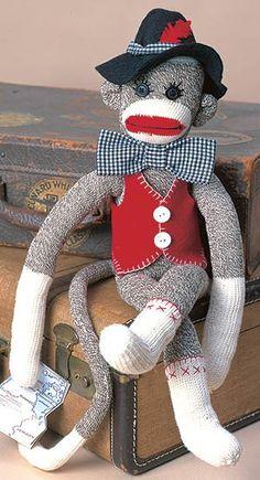Unky the Sock Monkey Pattern from Leisure Arts. Find it here: http://www.leisurearts.com/products/unky-the-sock-monkey-pattern-digital-download.html #sock #monkey