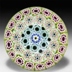 Damon MacNaught 2014 close concentric millefiori in a chartreuse stave basket paperweight. by Damon MacNaught