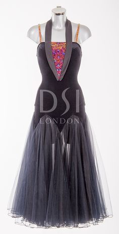 Black Ballroom Dress as worn by Joanne Clifton on Strictly Come Dancing 2014. Designed by Vicky Gill and produced by DSI London