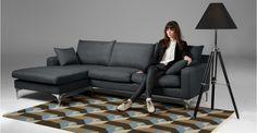 Mendini Left Hand Facing Corner Sofa Group in anthracite grey | made.com