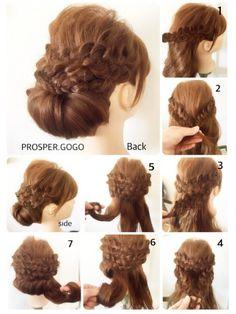 1、右サイドの毛束を四つ編み(三つ編みでも可)します♪ 2、左サイドも同様に♪クロスさせてピンで固定します♪ 3、更に下の段も、同様に左右編みます♪ 4、クロスしてピンで固定します♪ 5、残りの髪を三等分にして、毛先からくるくる丸めてシニヨンを作ります♪*・゚ ピンで固定したら完成です♡ Pretty Hairstyles, Braided Hairstyles, Wedding Hairstyles, Hair Arrange, Human Hair Extensions, Hair Dos, Hair Designs, Prom Hair, Hair Hacks