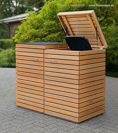 Anspruchsvolle Mülltonnenbox für 2 x 120 / 240 Liter Mülltonnen. Baukastensystem - unendlich verlängerbar. Astfreies FSC-Hartholz - jeweils 2 Gasdruckfedern je Deckel - Zubehör komplett aus rostfreiem Edelstahl. 1er, 2er, 3er, 4er, 5er, 6er, 7er und mehr Mülltonnenboxen ganz einfach erstellen    Mehr Info auf: www.friesenzaun.de