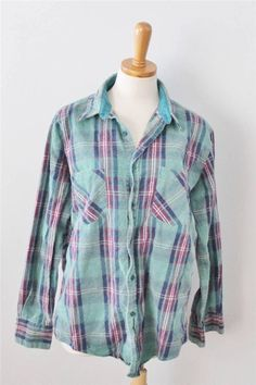 Vtg 80s Town Craft Plaid Flannel Shirt Men L grunge green Worn Lumberjack F3 #TownCraft #ButtonFront