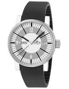 Fortis Spaematic Classic White - Automatic - Black Silicone Strap - Day / Date