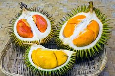 Sabah orange and red durians