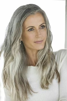 Color This makes me want to let my grey hair grow in and color the rest a darker grey! Love this hair and color! Sam GoldThis makes me want to let my grey hair grow in and color the rest a darker grey! Love this hair and color! Long Gray Hair, Silver Grey Hair, Gray Hair Women, White Hair, Pelo Color Plata, Silver Haired Beauties, Grey Hair Inspiration, Pelo Natural, Natural Hair