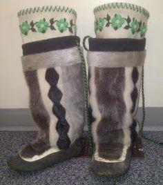 Inuit made women's sealskin kamiks by Julia Eseemailee