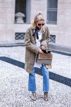fuzzy coat, gucci bag, light frayed denim, bandana