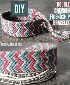 DIY Double Chevron Friendship Bracelet DIY Jewelry DIY Bracelet - enhance the chevron look by making it with white and one color... Maybe crimson