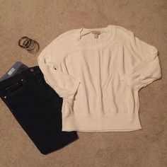 Banana Republic Cream Sweater Size L Comfortable 3/4 sleeves sweater (sleeves can be worn up or down). Some slight pilling. Banana Republic Sweaters Crew & Scoop Necks