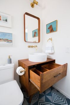 Emily Henderson Guest Bathroom Redesign Reveal After Photos Tile Mid Century-317