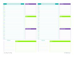 free printable, half page, two day, planner, agenda