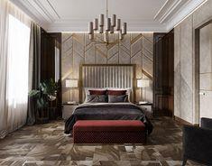 Apartament in Moscow, Russia on Behance Modern Luxury Bedroom, Luxury Bedroom Design, Master Bedroom Design, Contemporary Bedroom, Luxurious Bedrooms, Interior Design, Guest Bedroom Decor, Small Room Bedroom, Bedroom Sets