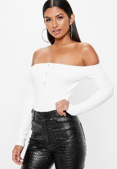 1be99b8c78697 Missguided White Ribbed Bardot Popper Bodysuit