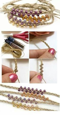 Beaded Hemp Bracelet DIY  http://tech.beads.us/details-Beaded-Hemp-Bracelet-3042.html
