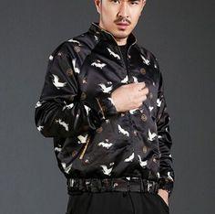 Chinese style crane bomber jacket for men