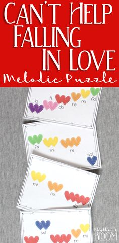 My students love this iconic puzzle of the melody to Can't Help Falling in Love.  This is a perfect Valentine's day activity!!
