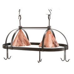 Stone Country Ironworks Oval Dutch Lighted Pot Rack in Fired Copper   Wayfair