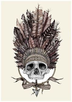 ☠ Skull with Native American HeadDress ☠