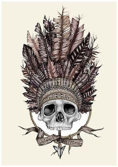 ☠ Skull with Native American HeadDress ☠