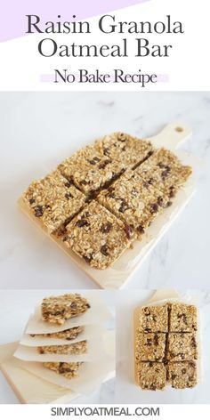 Learn how to make no bake oatmeal raisin bars for a quick and healthy snack idea. Assemble the grab and go no bake bars for an energy boost at anytime of day. Oatmeal Raisin Bars, No Bake Oatmeal Bars, Strawberry Oatmeal Bars, No Bake Bars, Baked Oatmeal, Chocolate Oatmeal Cookies, Oatmeal Cookie Recipes, Cooking Oatmeal, Homemade Granola Bars