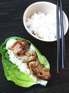 Korean style chicken and rice wraps.