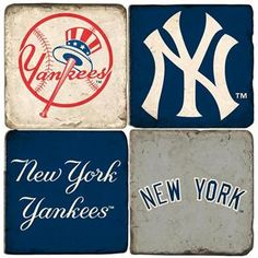 Step up to the plate with a gift any New York Yankees fan is sure to love. Exquisitely crafted from Italian Botticino marble, the MLB officially-licensed coasters feature hand-printed Yankees symbols. Yankees Baby, Yankees News, New York Yankees Baseball, Football, Mlb Team Logos, Derek Jeter, Major League, Coaster Set, Marble Coasters