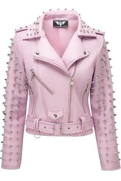 Dahlia Studded Biker Jacket. The softest faux leather - zipped front & cuffs, feature pockets, belted, loaded with spikes, accent lace-up detail and soft satin lining with pentagrams. This is yer pastel goth dream come-true. #dahlia, #biker, #killstar, #killstarco, #pastelgoth, #nugoth, #alternativeclothing