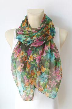 Floral Silk Scarf - Green Infinity Scarf - Fashion Scarf - Women Shawl - Unique Scarf - Fabric Scarf - Scarf with Flowers - Boho Scarf