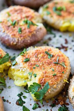 Crispy-Roasted Smashed Parmesan Potatoes with Rosemary-Garlic Olive Oil