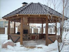 беседка с мангалом - Поиск в Google Outdoor Spaces, Outdoor Living, Backyard Retreat, Trellis, Dream Big, Garden Art, Stove, Gazebo, Outdoor Structures