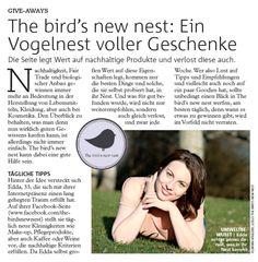 The bird's new nest im Wiener Bezirksblatt. Ich freue mich sehrüber den The bird's new nest-Artikel im aktuellen...