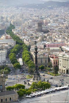 Spain, Catalonia, Barcelona, La Rambla and Columbus statue, aerial view; a post cruise stop...