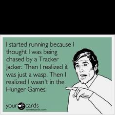 Haha after reading Hunger Games I was scared of wasps for a while. Hunger Games Humor, Hunger Games Trilogy, Blunt Cards, Tribute Von Panem, Catching Fire, Mockingjay, E Cards, Story Of My Life, Jennifer Lawrence