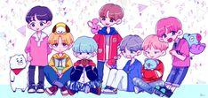 this so cute,, Bts fanart Cr to owner Namjoon, Hoseok, Seokjin, Hwarang Taehyung, Bts Chibi, Yoonmin, Leprechaun, Bts Bangtan Boy, Jimin