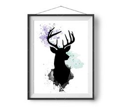 Watercolor Deer Art Mint & Lilac Art Wall Painting door PrintAvenue