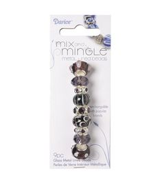 Mix and Mingle Glass Metal Lined Beads Amethyst