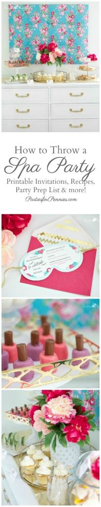 How to Throw a Spa Party by PartiesforPennies.com   TONS of ideas for food, favors, activities & download Spa Mask Invitation!