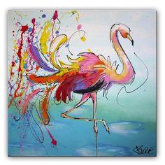 Schilderij Flamingo in vrolijke kleuren Het kleurrijke schilderij is door onze kunstenaars oa met paletmes geschilderd. Hierdoor is de verf dik opgezet en krijgen het schilderij meer karakter. De lijnen zijn trefzeker neergezet, de kleuren zijn vrolijk, maar ogen rustig. De verfspatters zijn er met verschillende kleuren opgespat.