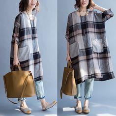 Plus Size Cotton Linen Tops Loose Blouse Casual Long T-Shirt