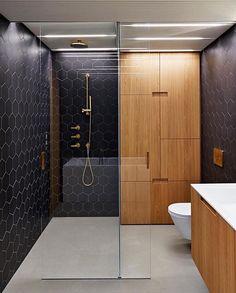 Triplex Apartment by Lenka Míková & Márketa Brómova ✨ beautiful mix of a warm timber & navy hexagonal tiles!