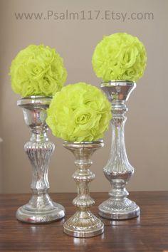 12 - 6 inch wide - LIME - wedding pomanders -  you choose ribbon color. $120.00, via Etsy. - $10 each - 6 inch rose flower balls www.psalm117.etsy.com - custom orders!