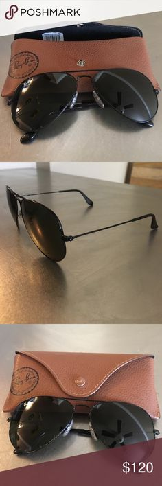 Black on black Ray Ban Aviators (Women size) Bought these not long ago from Nordstrom. Worn only a handful of times, just not my style! Case comes with purchase. Ray-Ban Accessories Sunglasses