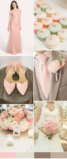 pink and brown wedding ideas for 2016 spring weddings