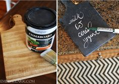 Painting a thrifted cutting board with chalkboard paint to use as a grocery list in your kitchen: http://emilyaclark.blogspot.com/2013/01/whats-on-my-kitchen-countertops.html