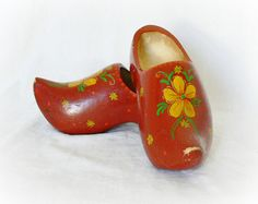 Vintage 70s Wooden Shoes Dutch Clogs Red from PaddywhackKnickKnack, $22.00