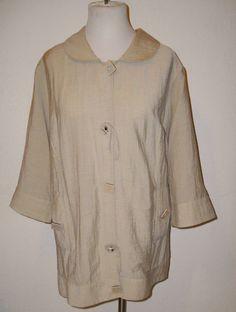 Ulla Popken Relaxed Fit Beige Jacket Tunic Top size 28 30 #UllaPopken #BasicJacket