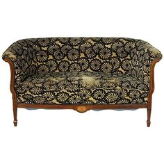 French Art Deco Period Mahogany Sofa Settee with Lemonwood and Sycamore Inlay | From a unique collection of antique and modern settees at https://www.1stdibs.com/furniture/seating/settees/