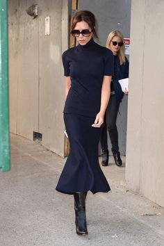 The posh designer turned heads on the street wearing a skirt with flair.